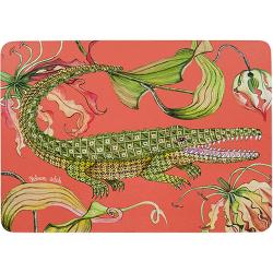 Flame Lily Crocodile Placemats (Pair) - Coral