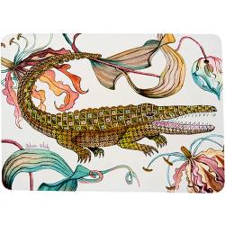Flame Lily Crocodile Placemats (Pair) - Sandstone