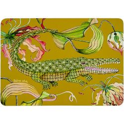 Flame Lily Crocodile Placemats (Pair) - Swamp