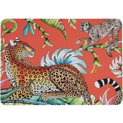 Monkey Paradise Placemats (Pair) - Coral