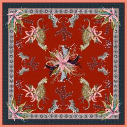 Leopard Lily Tablecloth - Royal Red - Square
