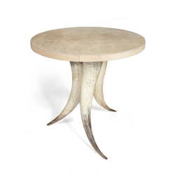 Cow Horn Table with Cream Cow Hide Top