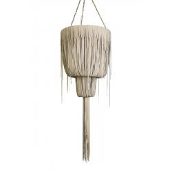 Urchin Chandelier - Medium Double-Ball - Cream-Stone Leather (Made to Order)