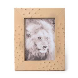 Ostrich Leather Photo Frame - Cream