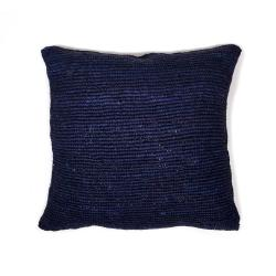 Raffia Pillow - Crochet - Blue