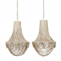 Empire Chandelier - Small - Cream-Stone Lether