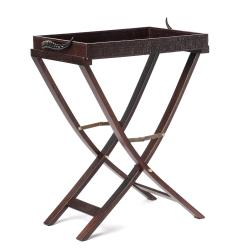 Stained Oak Tray Stand w/ Brown Leather Tray